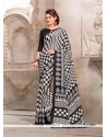Flattering Print Work Black And Off White Casual Saree