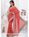 Phenomenal Red Shade Faux Georgette Saree
