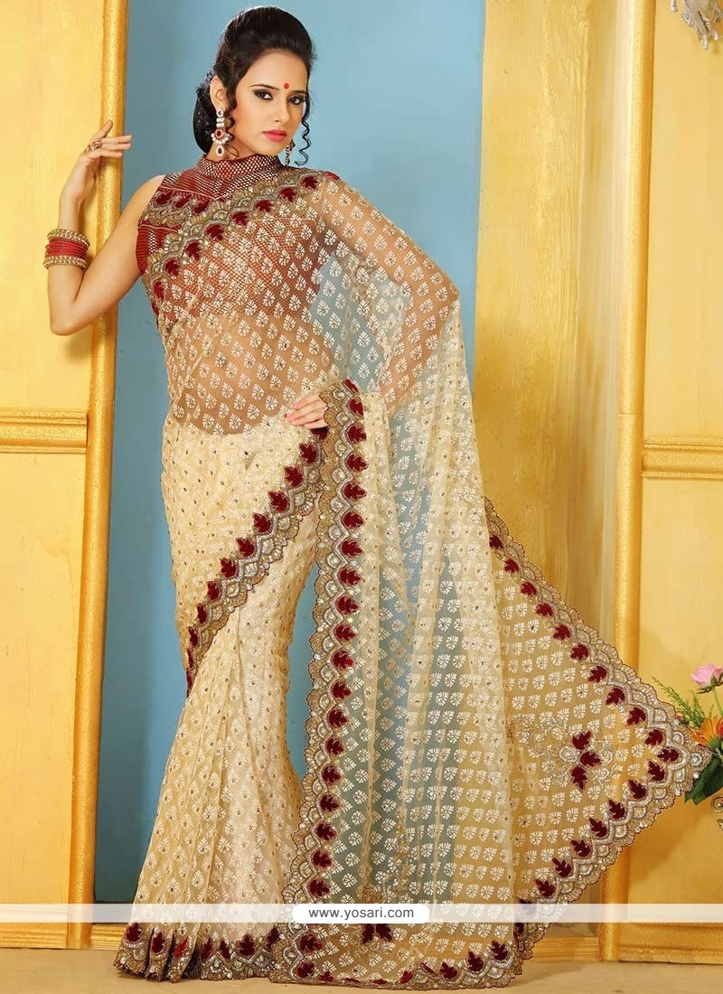 Genius Beige Super Net Designer Saree