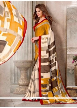 Groovy Print Work Georgette Casual Saree