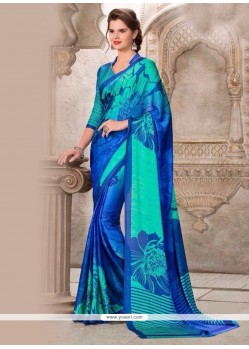 Imposing Multi Colour Print Work Satin Casual Saree