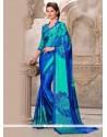 Imposing Multi Colour Print Work Satin Casual Saree