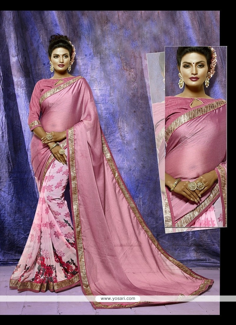 Superlative Pink Print Work Casual Saree