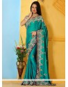 Eyeful Teal Satin Designer Saree