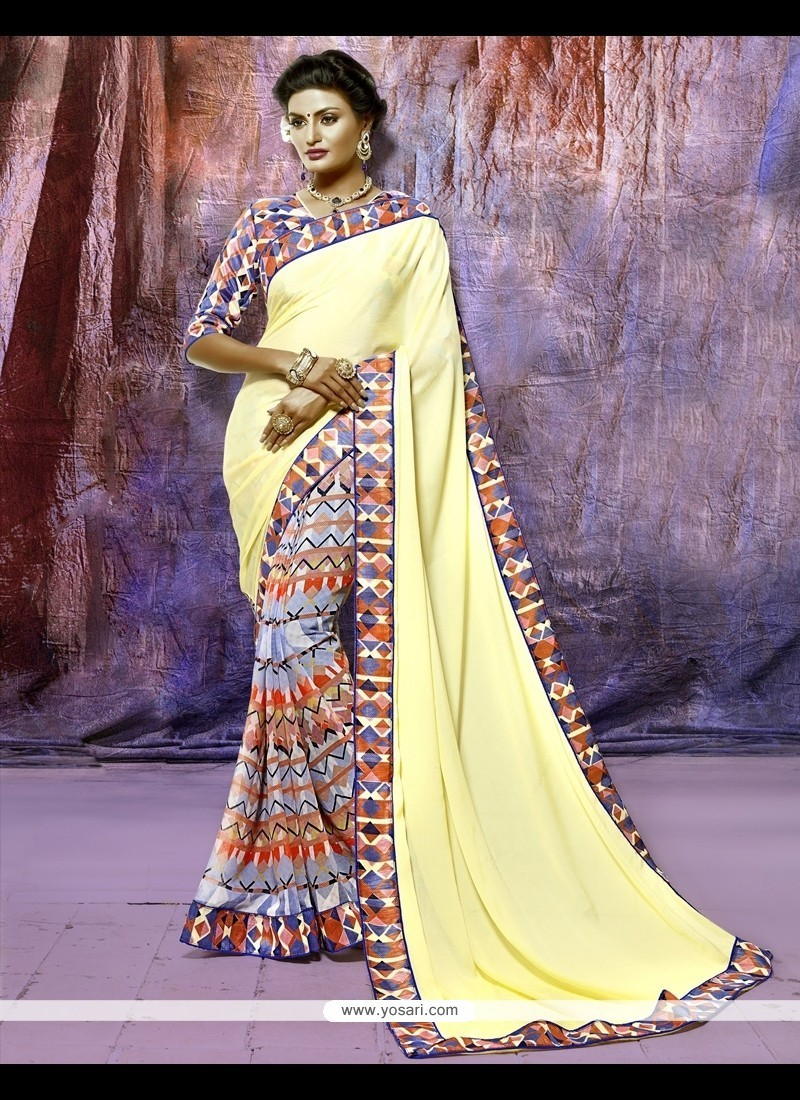 Catchy Silk Print Work Casual Saree