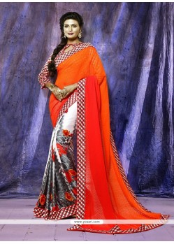 Bedazzling Print Work Casual Saree