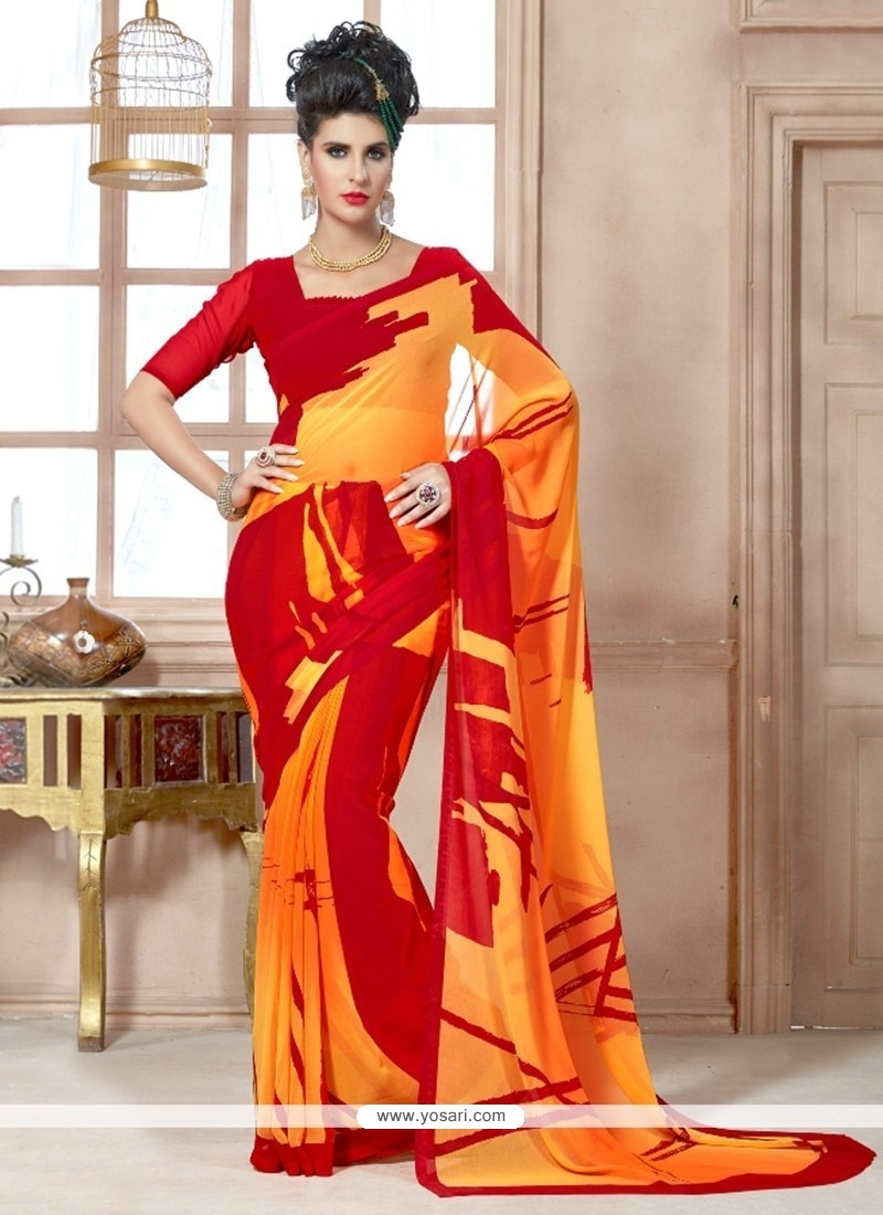 Dazzling Red Print Work Georgette Casual Saree