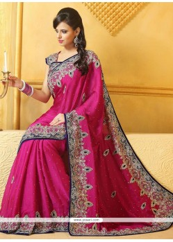 Epitome Pink Satin Wedding Saree