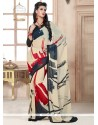 Thrilling Georgette Multi Colour Print Work Casual Saree