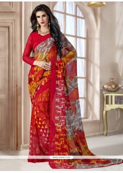 Astonishing Georgette Print Work Casual Saree