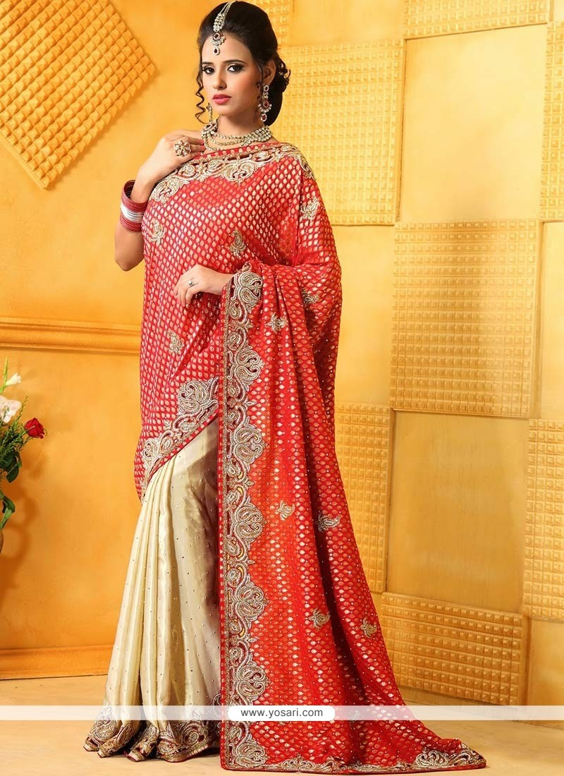 Cream And Red Satin Half And Half Saree