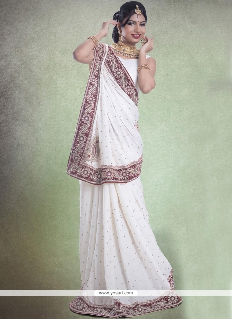 Off White Embroidered Work Jacquard Classic Designer Saree