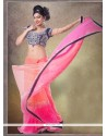 Sophisticated Net Hot Pink And Orange Embroidered Work Classic Designer Saree
