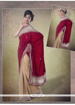 Magnetic Faux Chiffon Maroon Classic Designer Saree