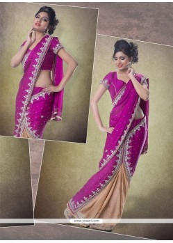 Superlative Chiffon Satin Patch Border Work Classic Designer Saree