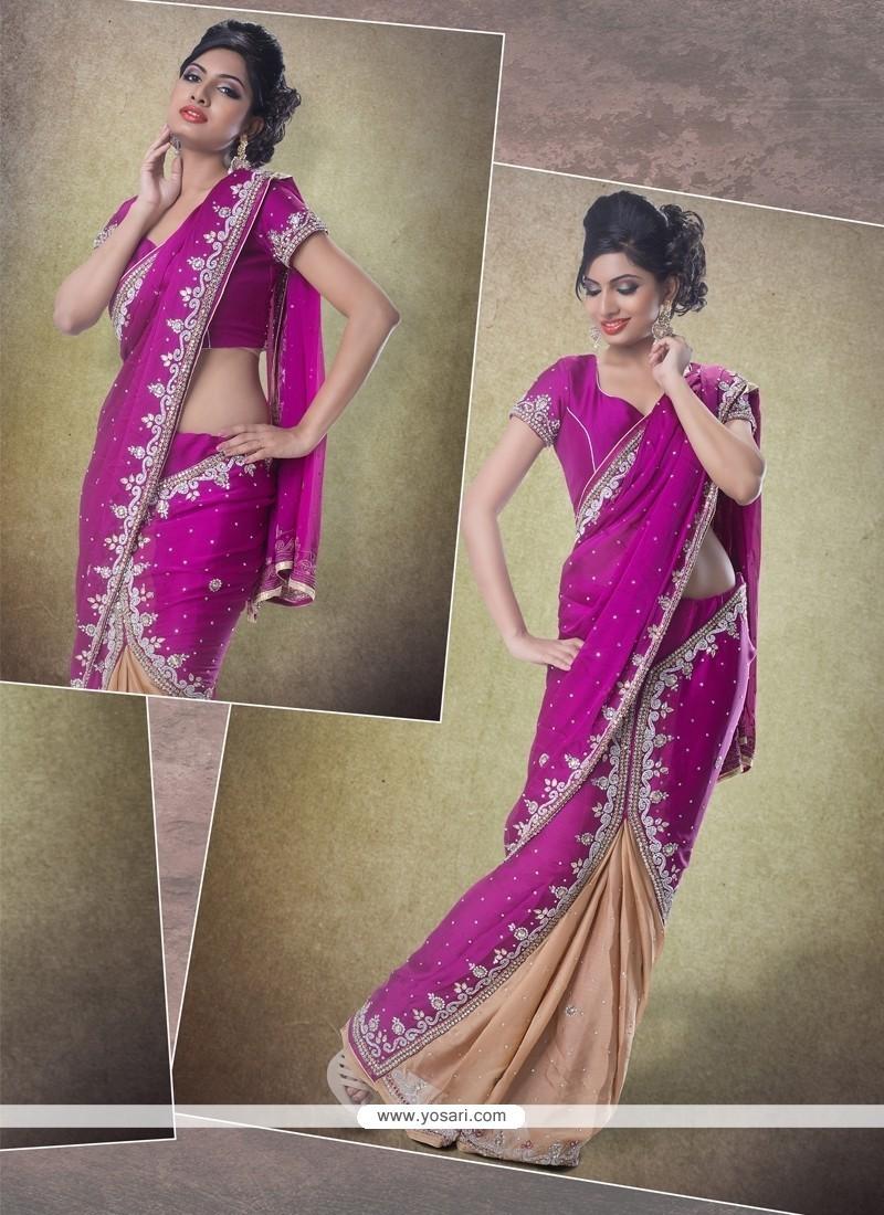 Superlative Chiffon Satin Patch Border Work Classic Designer Saree