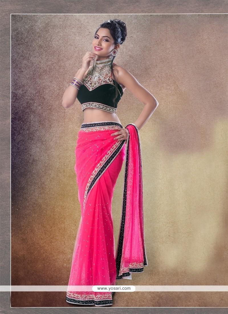 Integral Hot Pink Classic Designer Saree