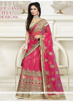 Winsome Hot Pink Patch Border Work Lehenga Saree