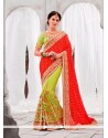 Vehemently Green And Red Classic Designer Saree