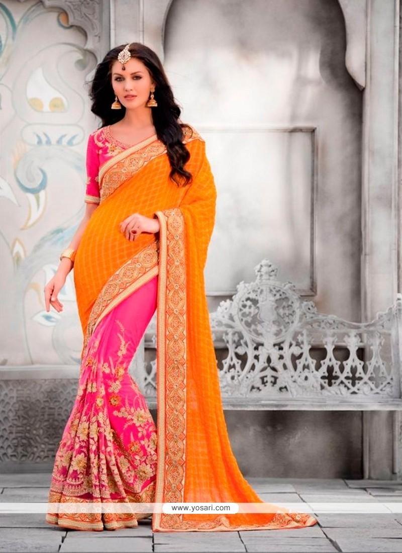 Sparkling Silk Patch Border Work Classic Designer Saree