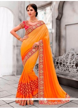 Savory Embroidered Work Orange And Yellow Classic Designer Saree