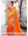 Savory Embroidered Work Orange And Yellow Classic Designer Saree