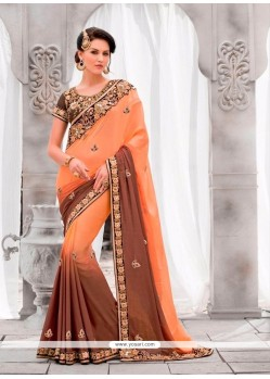 Paramount Pure Georgette Embroidered Work Classic Designer Saree
