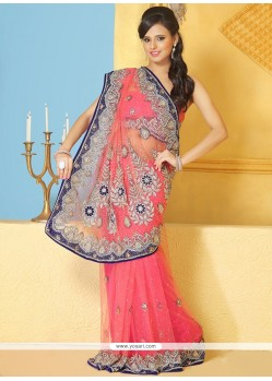 Deserving Pink Net Party Wear Saree