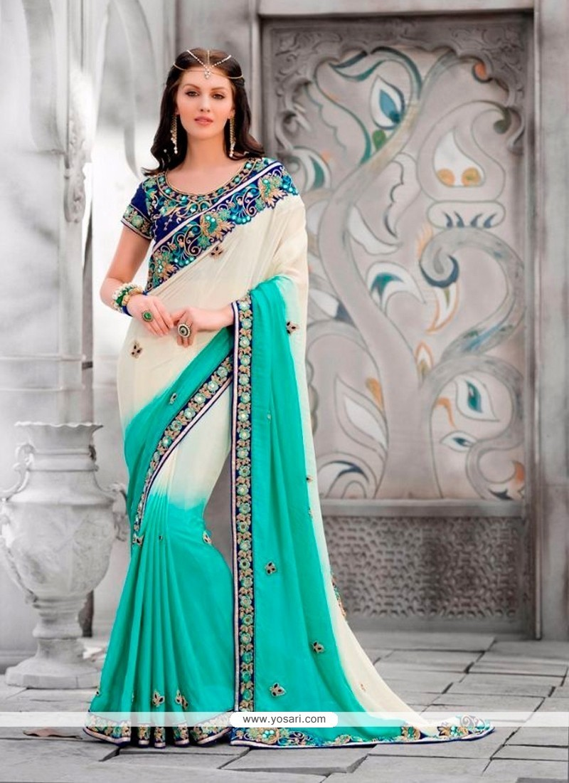 Refreshing Pure Georgette Embroidered Work Classic Designer Saree