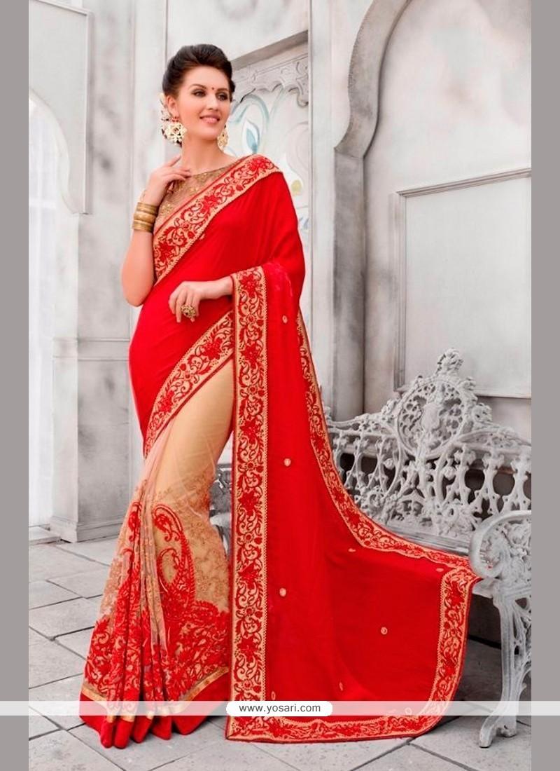 Prodigious Viscose Red Classic Designer Saree