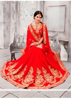 Majestic Pure Chiffon Red Classic Designer Saree