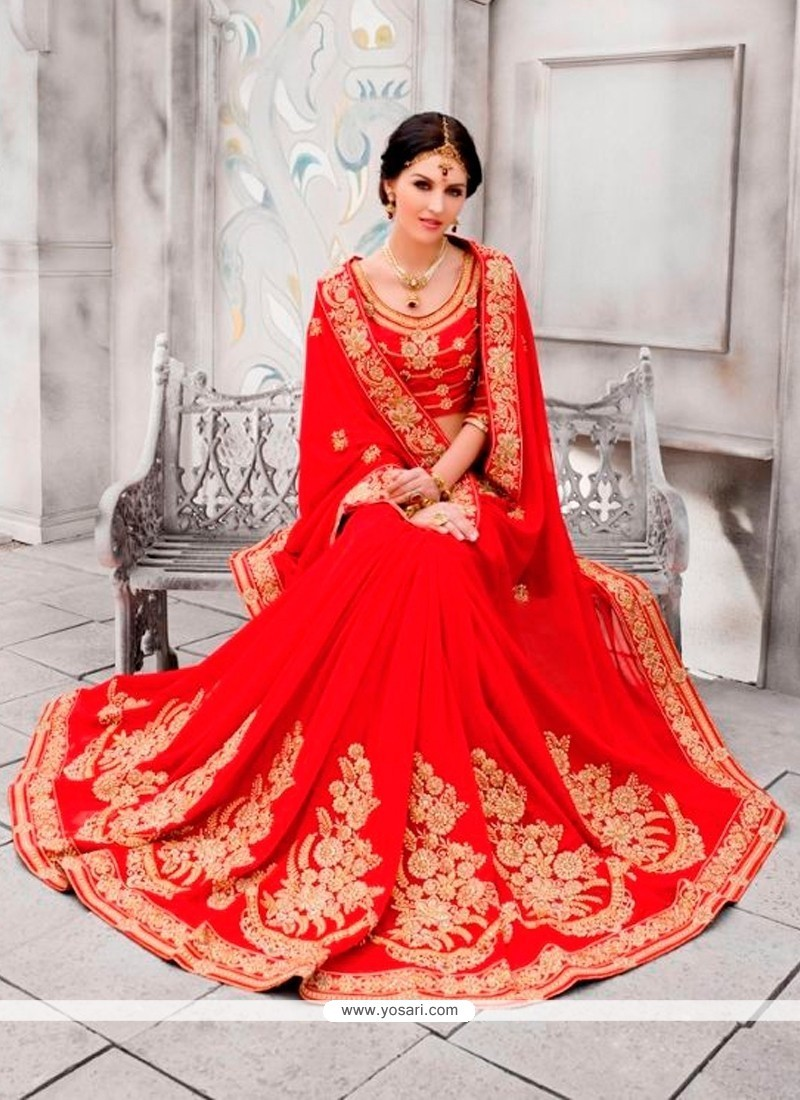 Majestic Pure Chiffon Red Classic Designer Saree