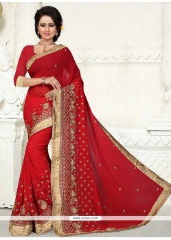 Paramount Georgette Patch Border Work Designer Saree