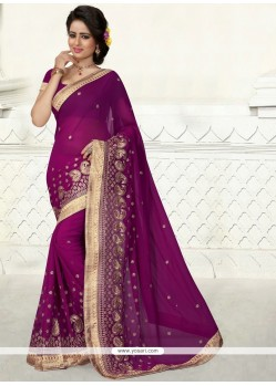 Wine Embroidered Work Georgette Designer Saree
