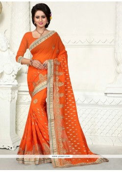 Orphic Orange Embroidered Work Georgette Designer Saree