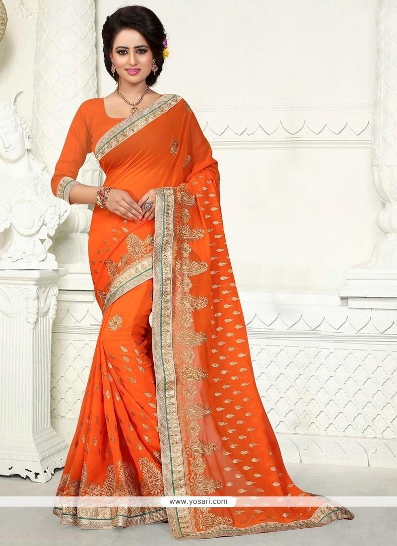 Orphic Orange Embroidered Work Georgette Designer Saree