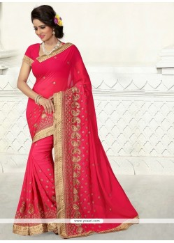 Flattering Hot Pink Patch Border Work Designer Saree