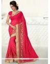 Flattering Hot Pink Patch Border Work Designer Saree