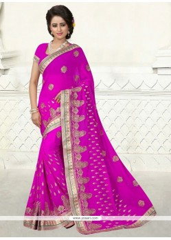 Extraordinary Magenta Embroidered Work Designer Saree