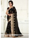 Innovative Black Embroidered Work Georgette Designer Saree