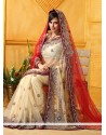 Cream And Red Net Bridal Saree
