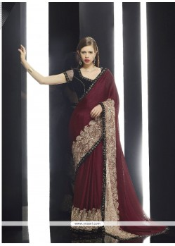 Heavenly Brown Embroidered Work Classic Designer Saree