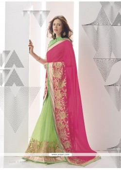 Distinguishable Green And Hot Pink Georgette Classic Designer Saree