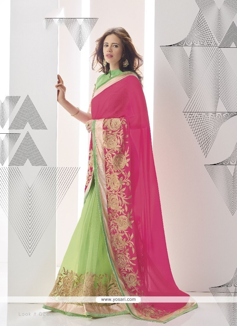 Distinguishable Green And Hot Pink Georgette Classic Designer Saree