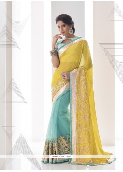 Masterly Yellow Embroidered Work Georgette Classic Designer Saree