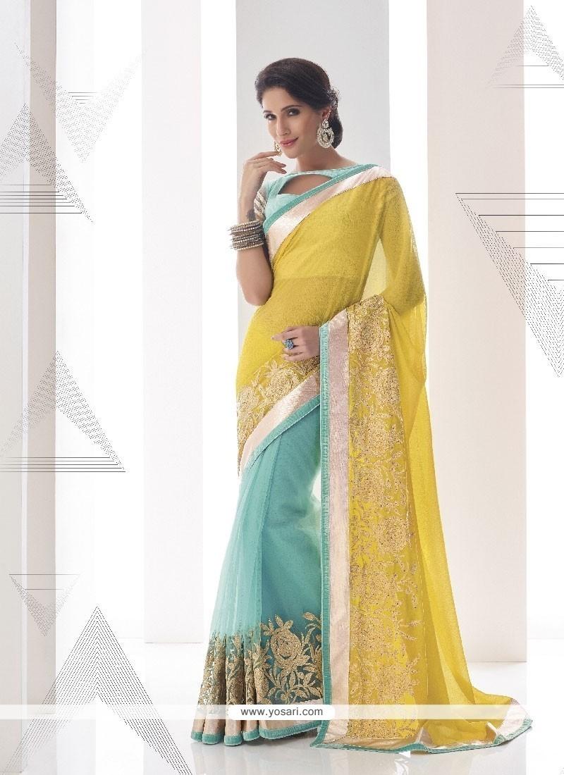 Masterly Yellow Embroidered Work Georgette Classic Designer Saree