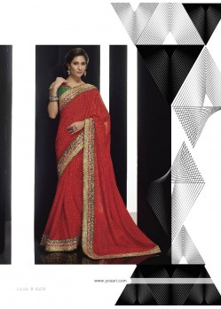 Simplistic Georgette Patch Border Work Classic Designer Saree