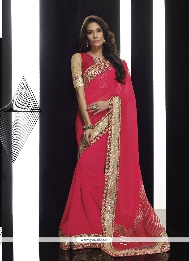 Sonorous Hot Pink Classic Designer Saree