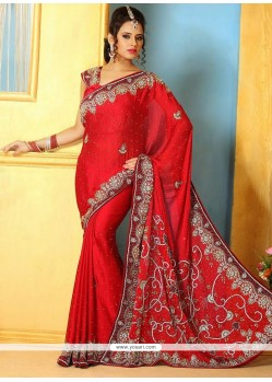 Competent Red Satin Wedding Saree
