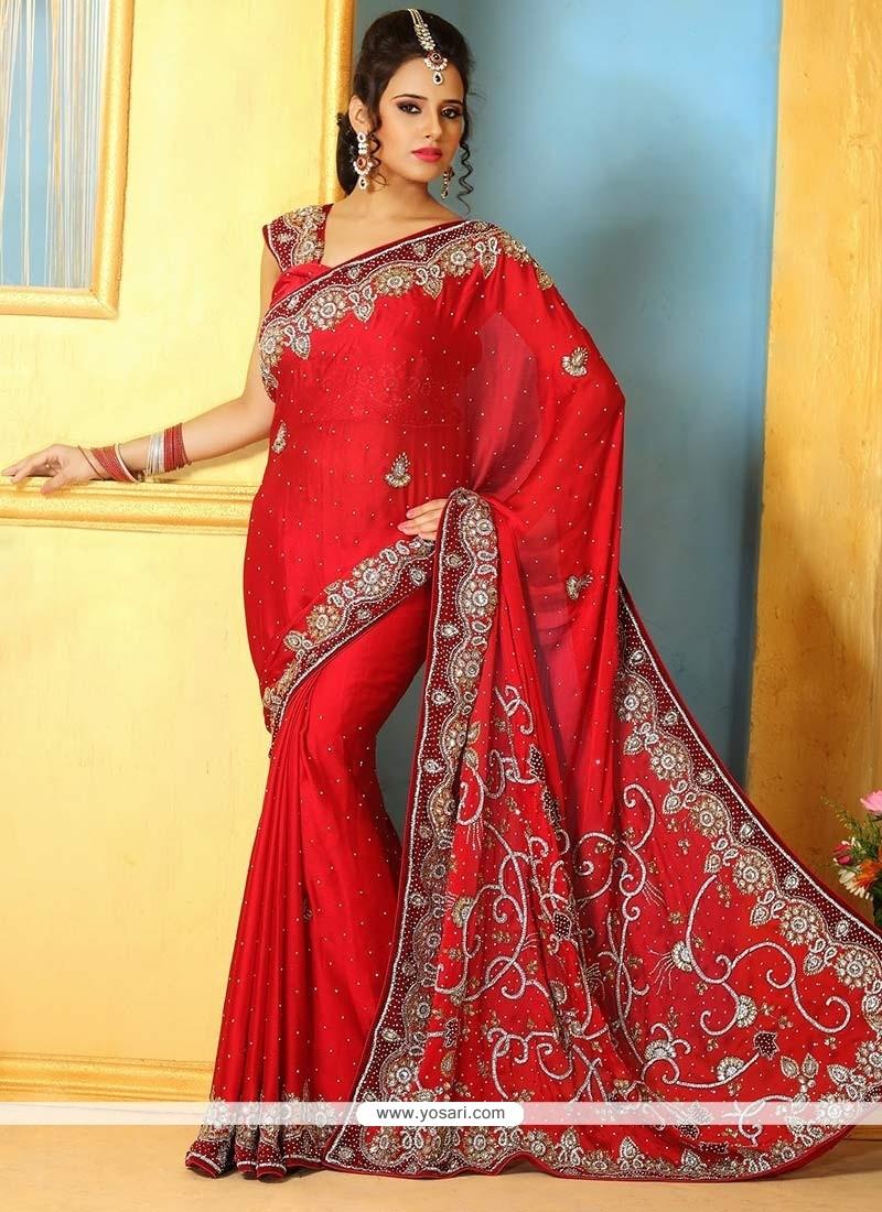 Competent Red Satin Wedding Saree